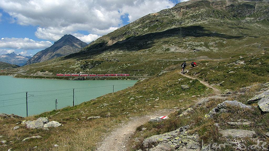 Trail neben See und Rhätischer Bahn