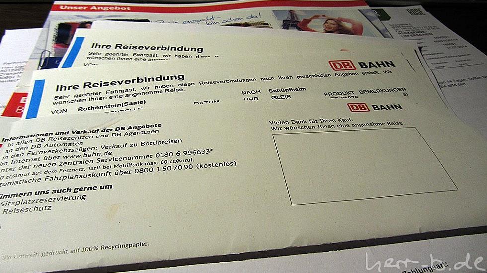 Bahntickets, einmal in die Schweiz und zurück
