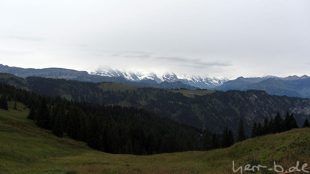 Die ersten schneebedeckten Bergriesen am Horizont.