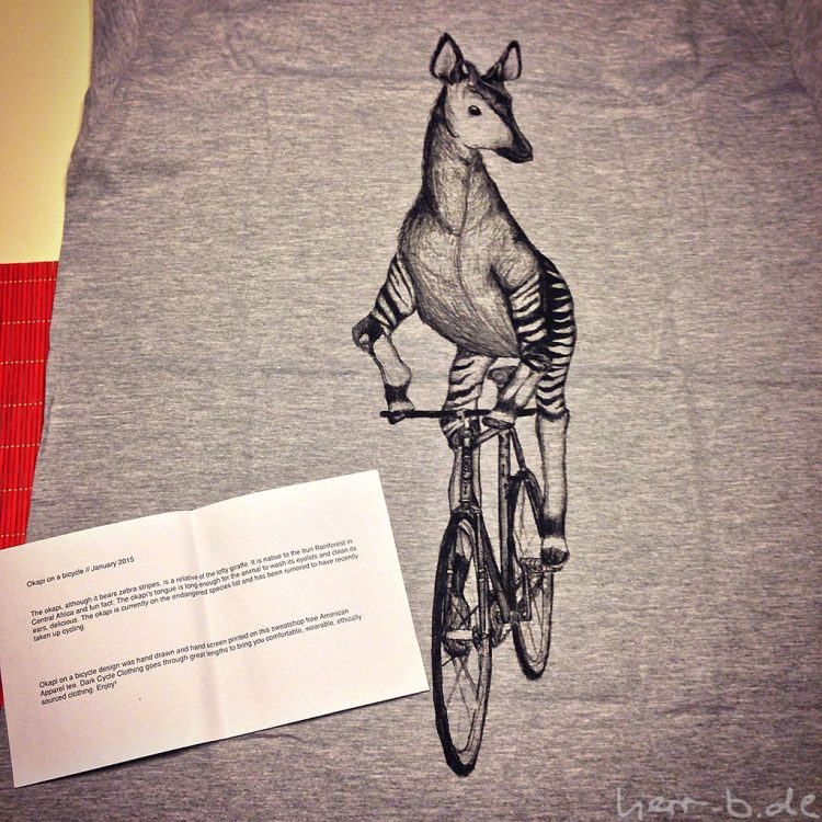 Okapi auf Fahrrad