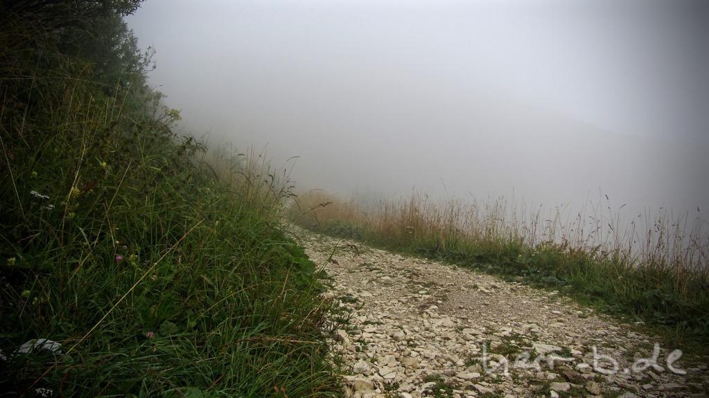 Plötzlich ist alles in Nebel gehüllt.