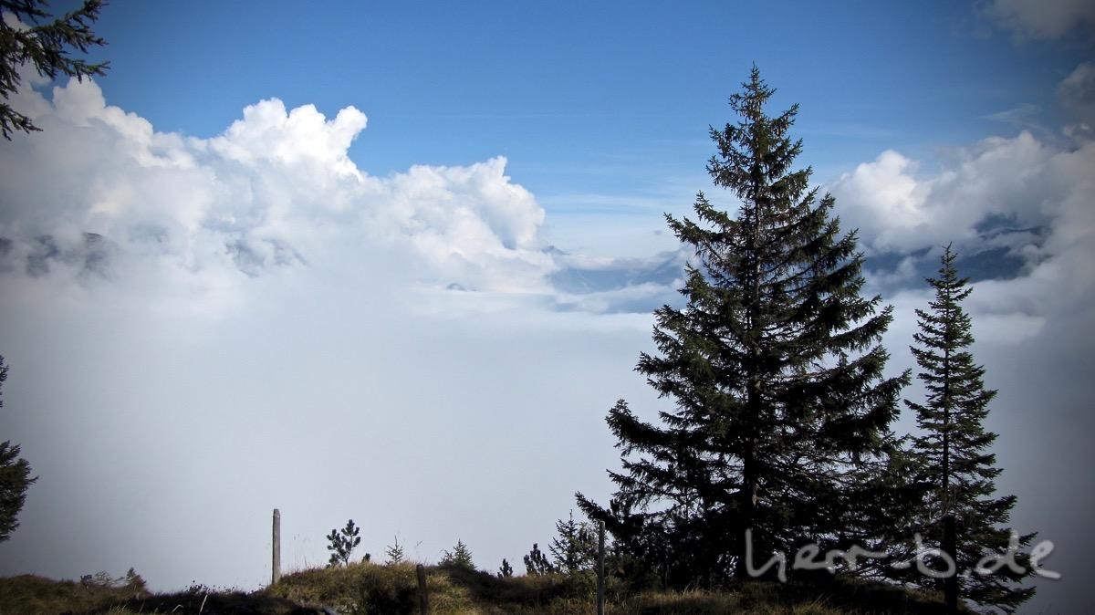 Der Ausblick auf die Wolken im Silbertal.