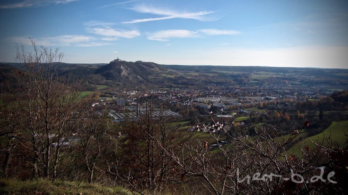 Ausblick auf Kahla und die Leuchtenburg.