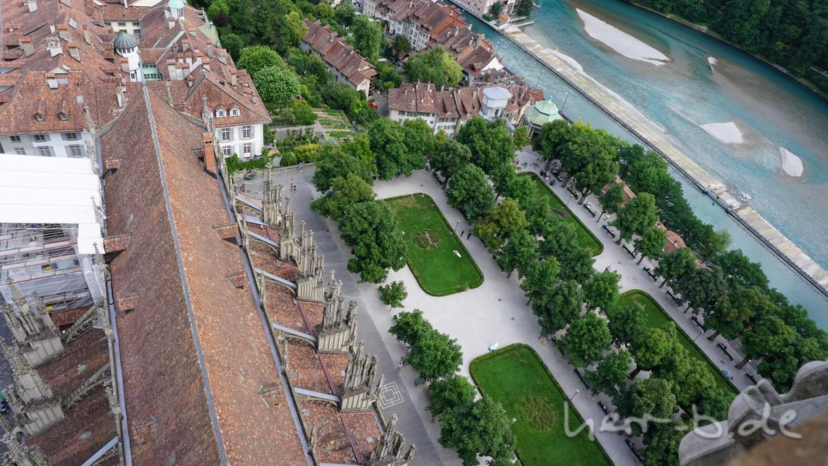 Das Münster und die Münsterplattform von oben.