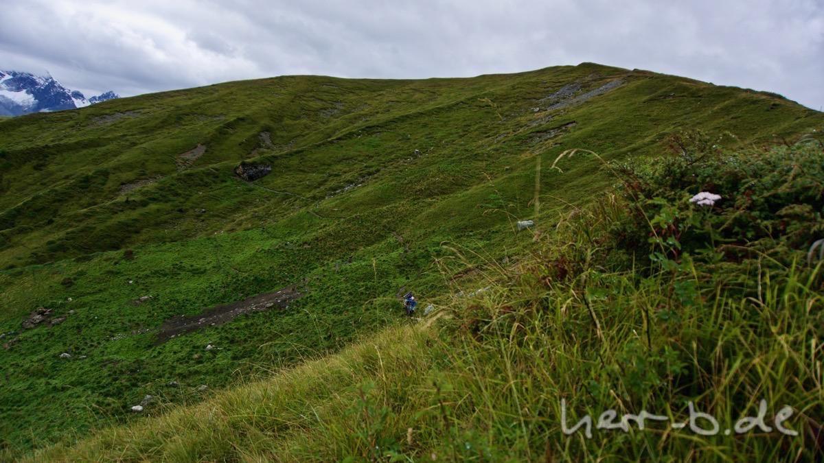 Trail durch die nasse Bergwelt.