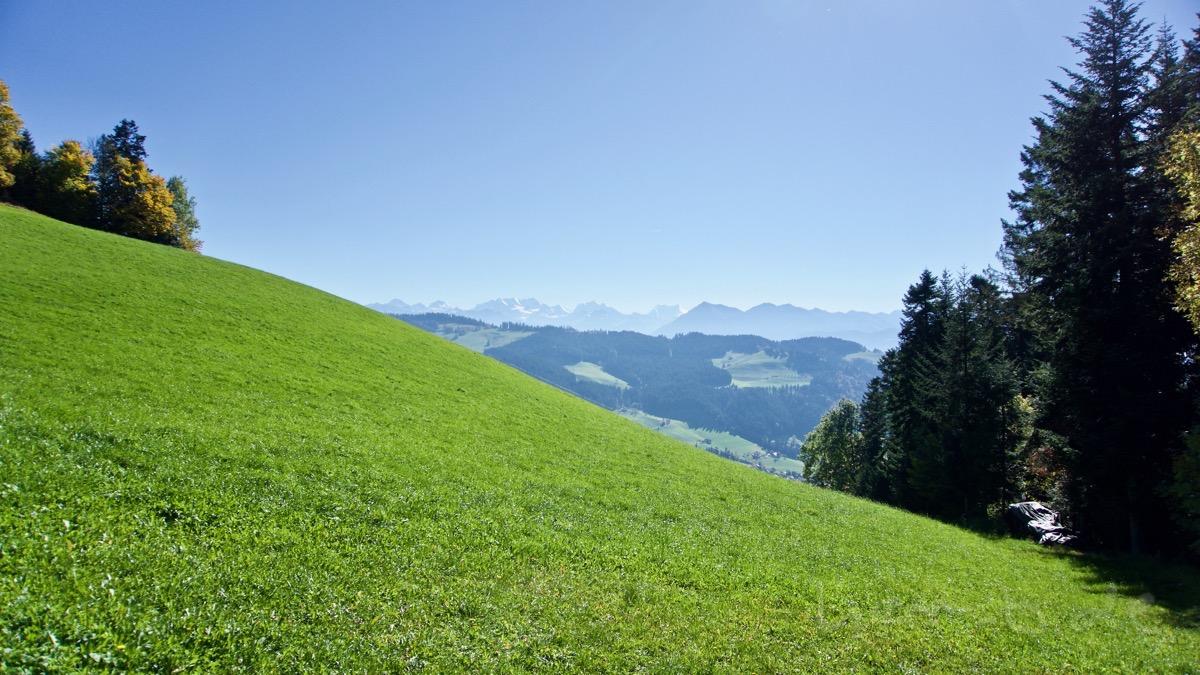 Ausblick vom Emmental ins Oberland.