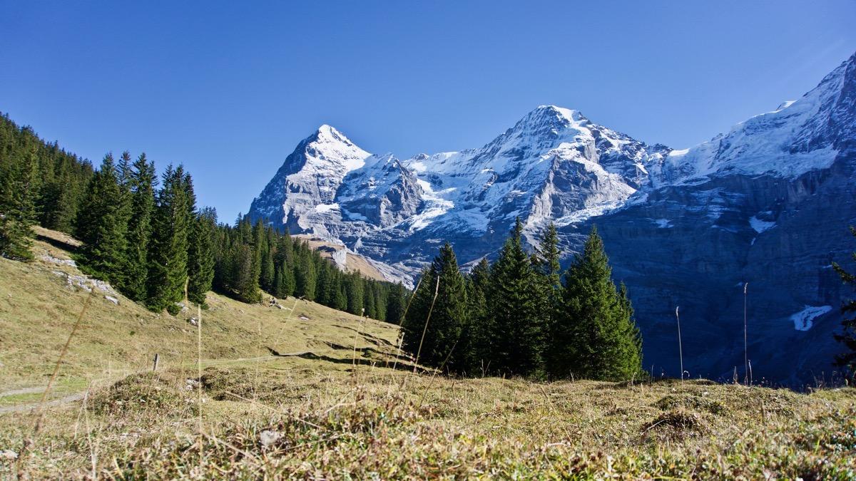 Auf dem Weg vorbei an Jungfrau, Mönch und Eiger.