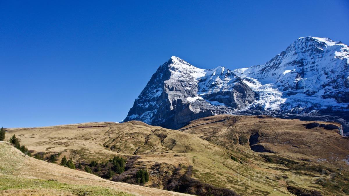 Die Eiger-Nordwand kurz vor der Kleinen Scheidegg.
