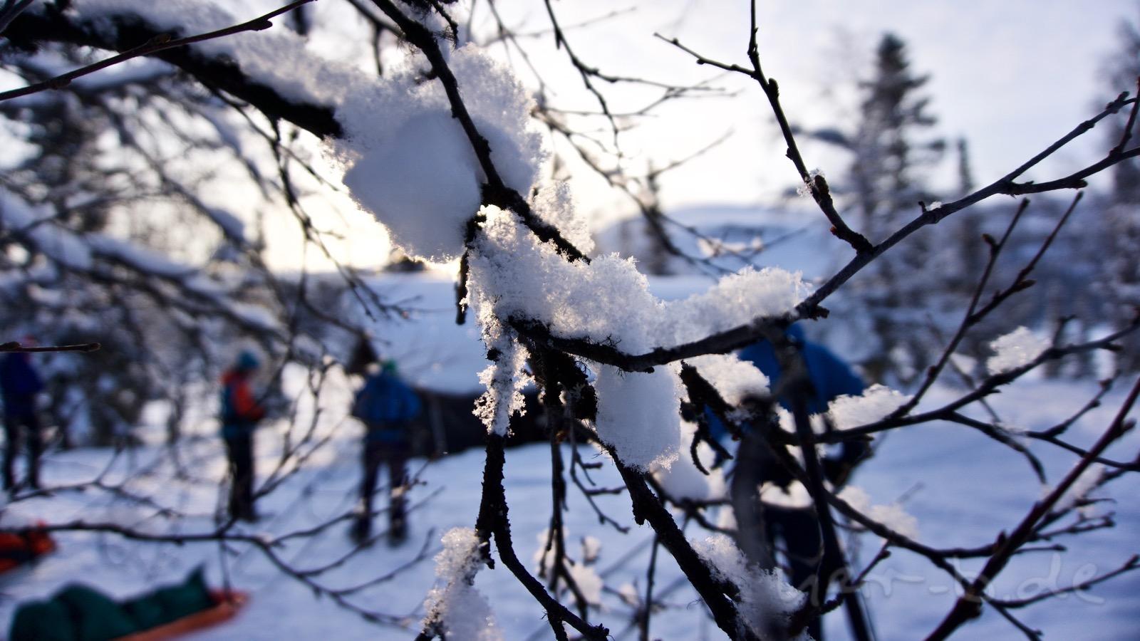 Frischer Schnee in Pårtestugan.