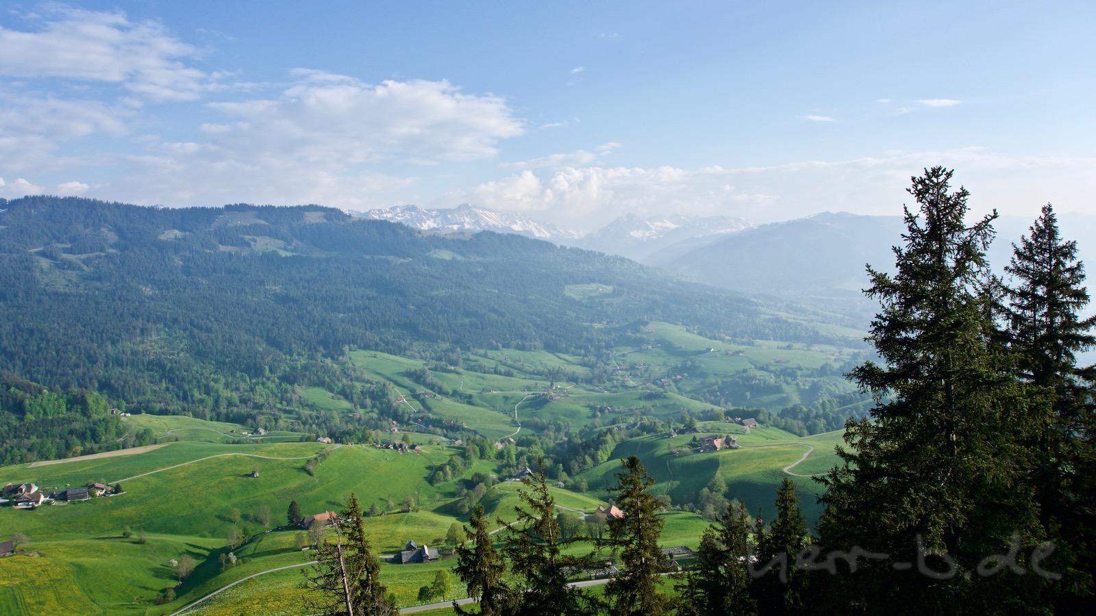 Blick vom Guggishörnli Richtung Alpen.