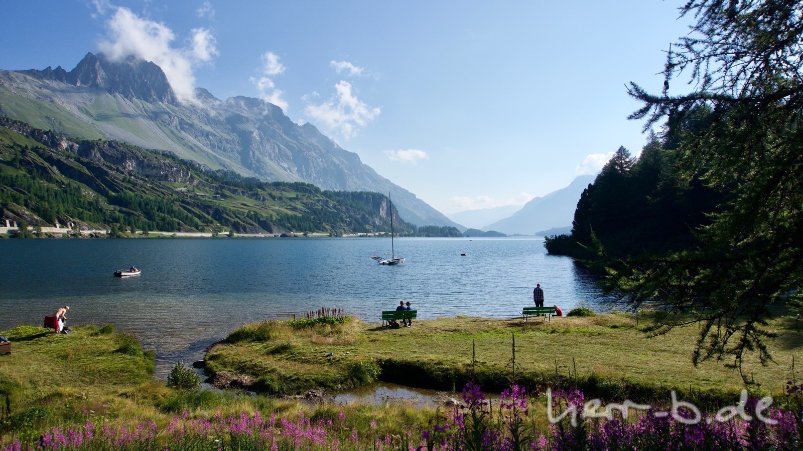 Morgendliche Idylle am Silsersee.