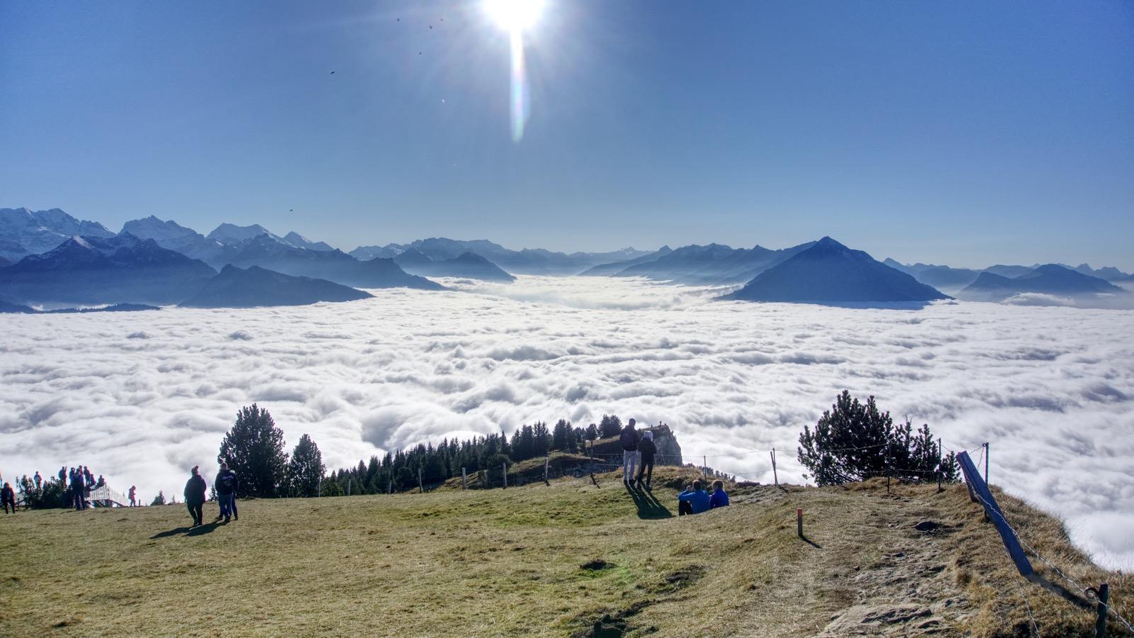 Der Blick vom Niederhorn auf das Nebelmeer.