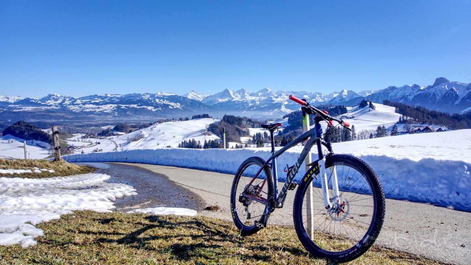 Der Luftikus vor dem Berner Oberland-Panorama.