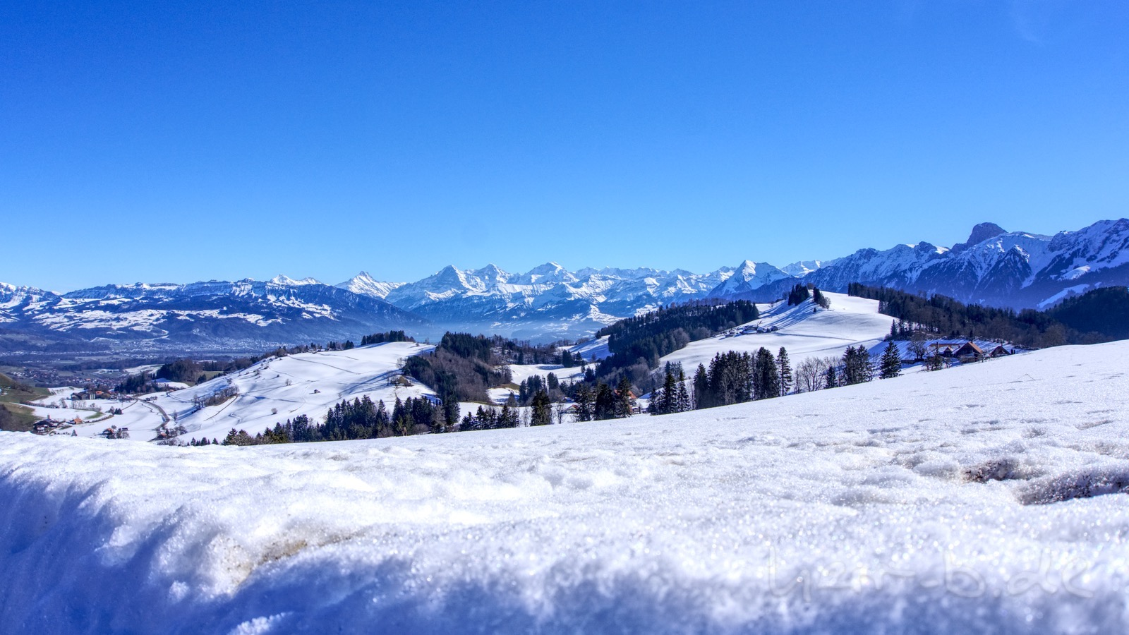 Ausblick oberhalb von Riggisberg auf das Bergpanorama.
