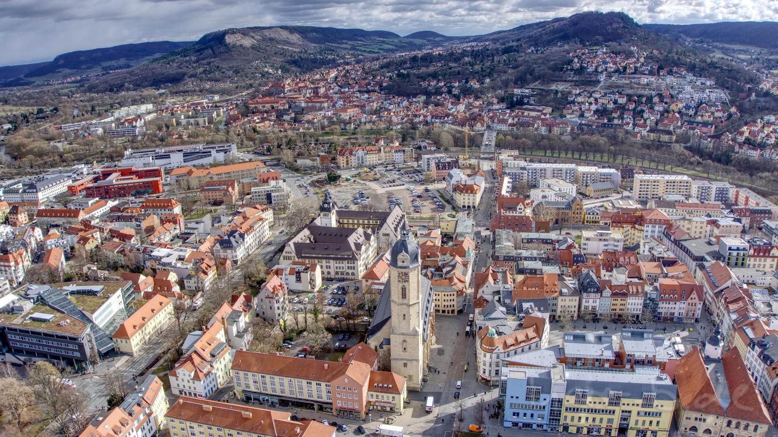 Blick vom Jentower Richtung Jena-Ost.