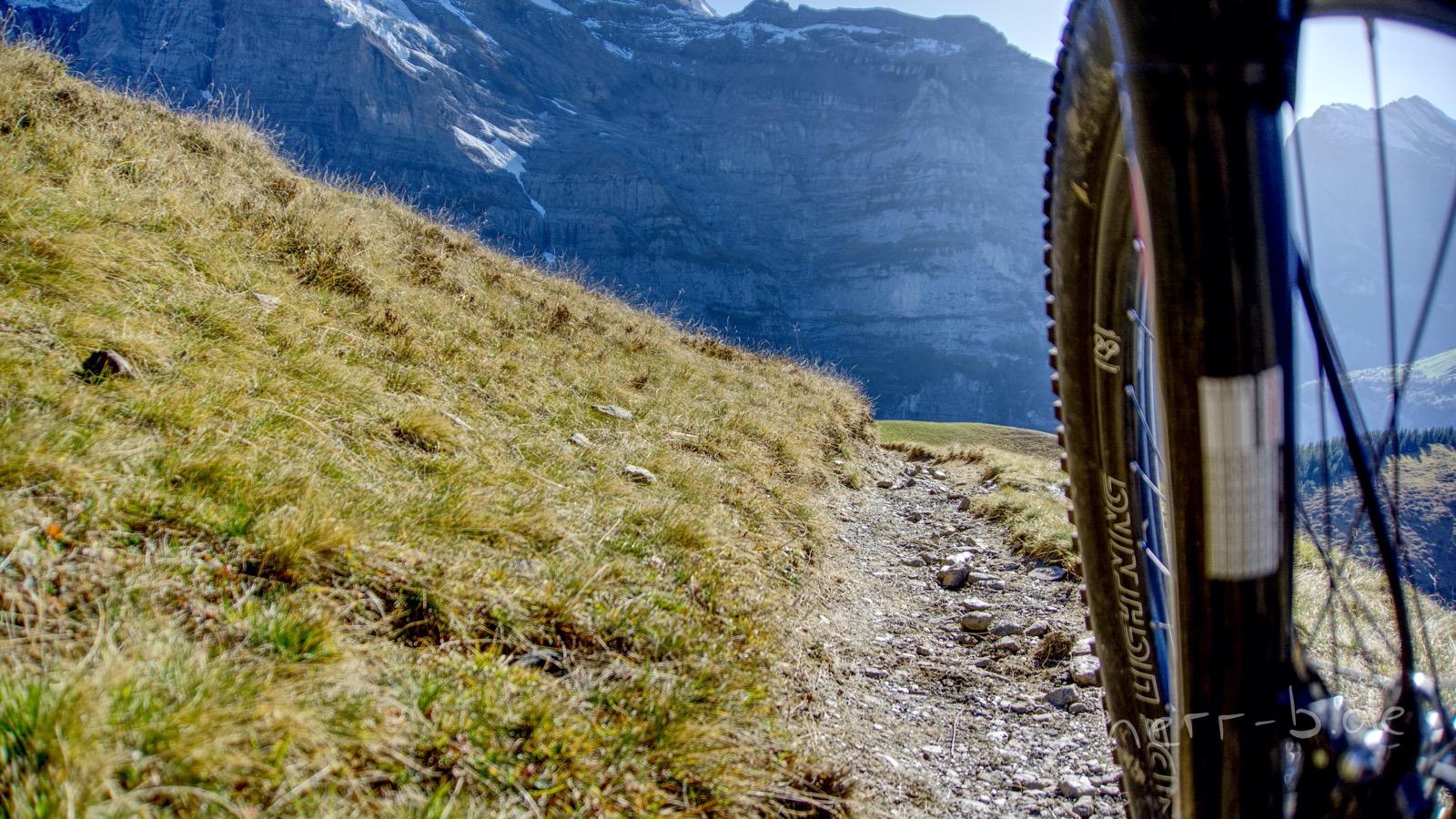 Der Trail auf der Lauberhorn-Piste unter den Stollen.